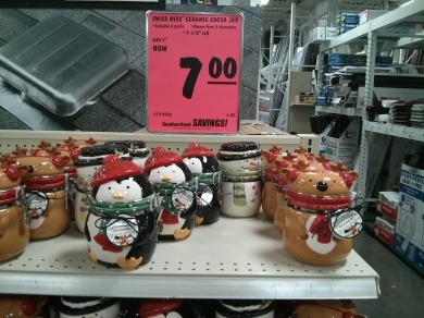 Penguin, reindeer, and snow man decorative jars.