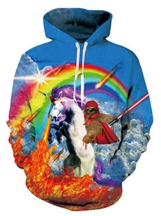 A hooded sweatshirt that depicts a sloth with an eyepatch, cape, and lightsaber riding a fire-breathing unicorn under a rainbow.