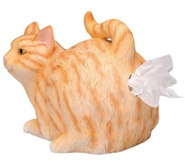 A tissue dispenser that looks like an orange stripy cat. You pull the tissues out of the cat's butt.