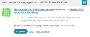 Sharon Anderson (@Sharon4Anderson) commented on Election 2020: Saint Paul School Board: Sharons Senate 64 Campaign centers around its OK to be White
